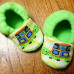 Lime Green Turtles Fleece Baby Boot..