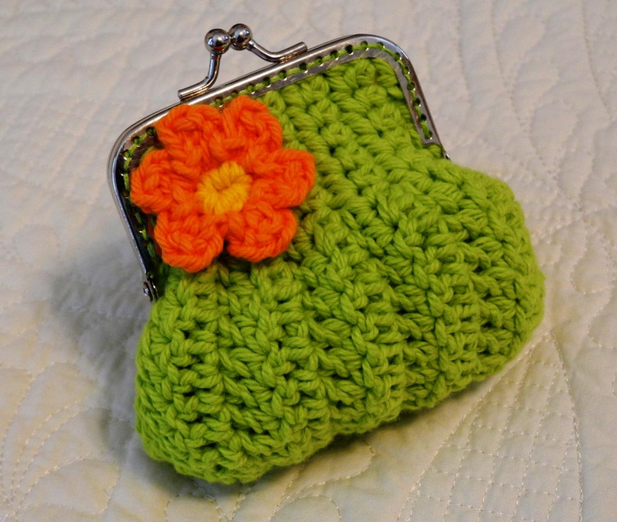 Lime Green Crochet Coin Purse with a Flower and Snap Frame