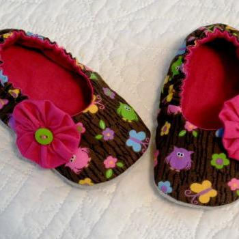 Owls and Butterflies Fabric Slippers with Suede Soles - Pink Flower